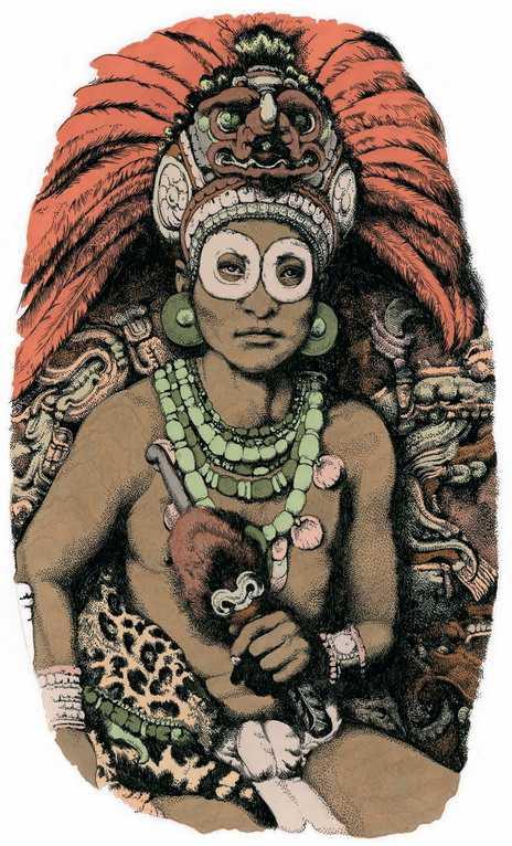 Правители майя стремились подчеркнуть свою связь с легендарным иноземцем по имени Рождающий Огонь. Они переняли чужеземное вооружение: защитные очки и дротик, с которым он изображен на этом современном рисунке.