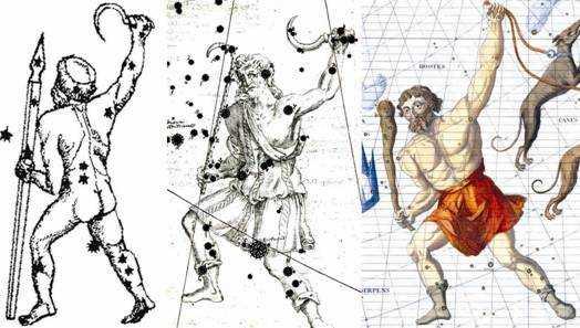 Рис. 7. Разные варианты начертания созвездия Перуна (Волопаса).