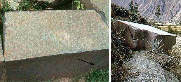 """Рис. 10. Следы распиловки на блоке Ольянтайтамбо и """"уставшем камне"""" (указано стрелкой)"""