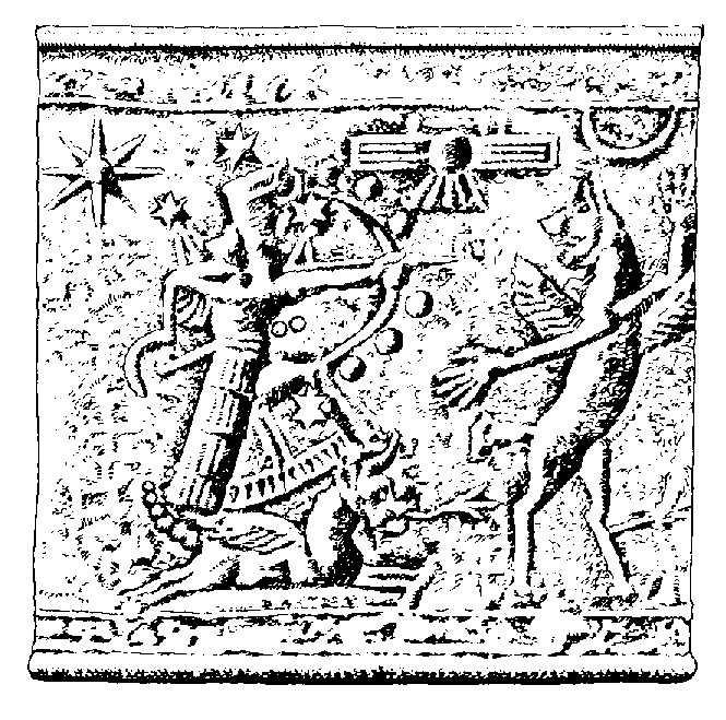 Древневавилонское изображение Ориона в виде сопровождаемого крылатым псом божественного охотника Нимрода, руководившего по преданию строительством Вавилонской башни [22, с. 227]