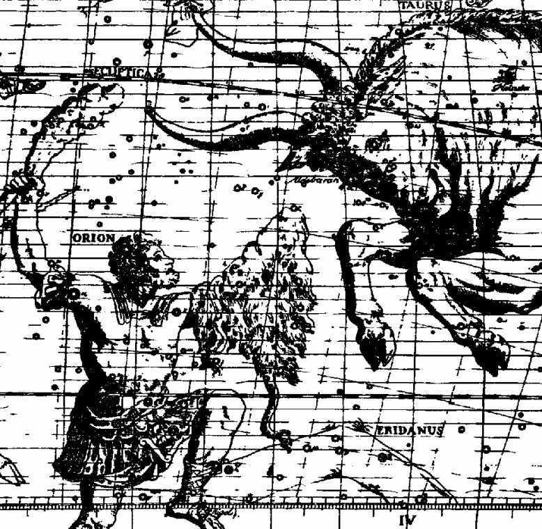 Орион и Телец в звездном атласе Флемстида. Обращает на себя внимание характерная поза Ориона, соответствующая изгибам Волги и Дона