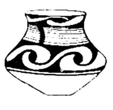 Трипольская керамика с изображением переплетённых струй.