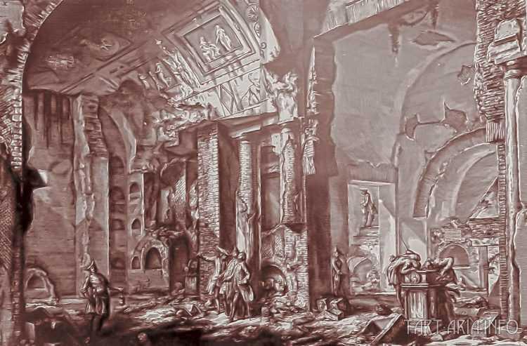 Руины неопознанных городов на гравюрах XVIII века 8