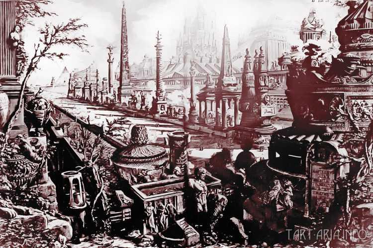 Руины неопознанных городов на гравюрах XVIII века 14