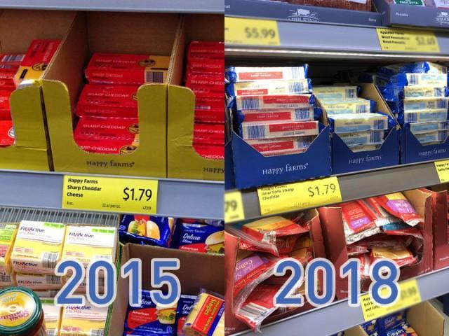 цены в США на продукты в 2015 и 2018 году